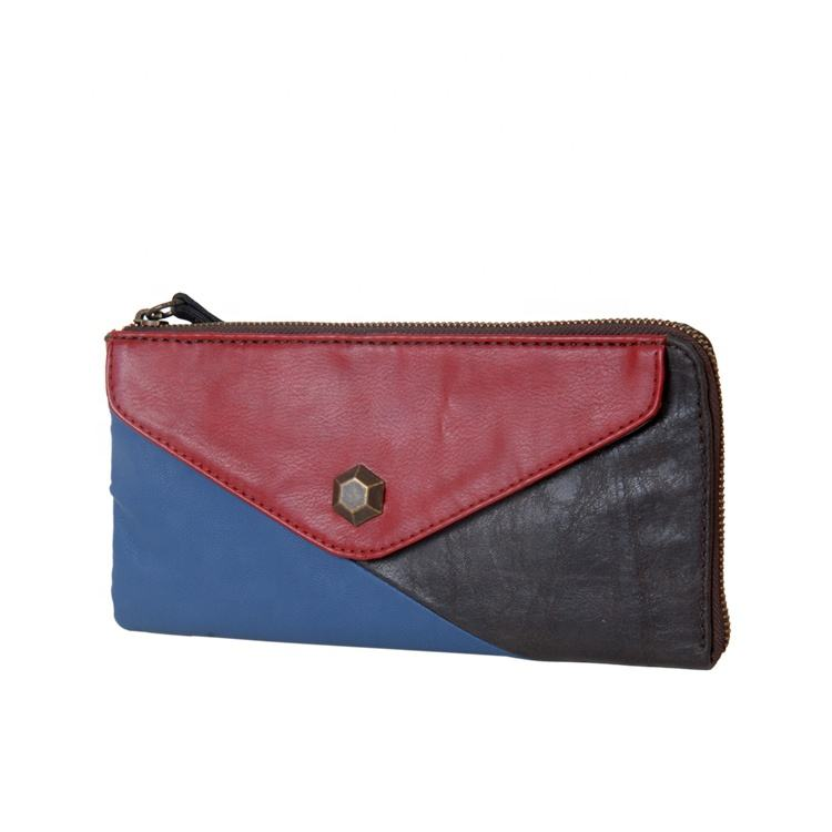 high quality leather women purse made of different color of leather