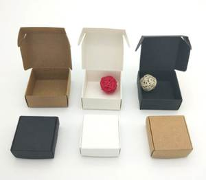 Kraft Paper Box Small Kraft Jewelry Wedding Boxes Mini Square Gift Packing Boxes Wrapping Brown/black/white