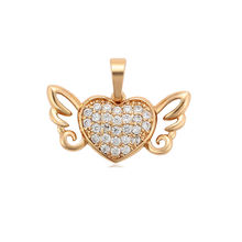 34097 Xuping wholesale heart and wing shape vogue gold plated gemstone pendant necklace