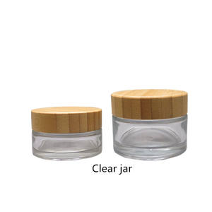 cosmetics containers packaging cosmetic body cream 5g 15g 30g 50g 100g clear glass jar with bamboo wood lid