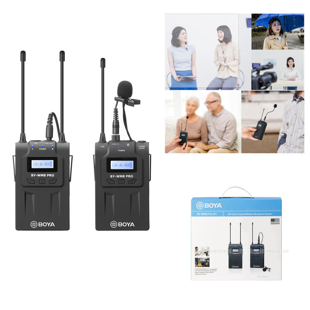 BY-WM8 Pro-K1 UHF Dual-Channel Lavalier Wireless Microphone System with LCD Screen for Canon Nikon DSLR Camera Camcorder