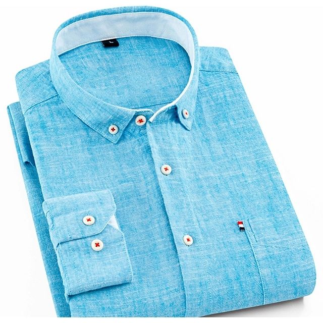 men's regular fit long sleeve thin breath linen cotton causal shirt