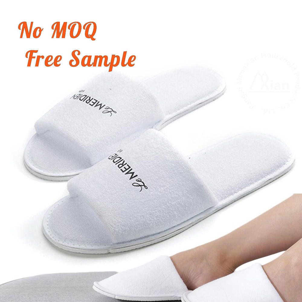 Fast delivery customised Hotel coral fleece spa slippers Open Toe velour slippers for unisex