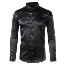 2019 Mens Silk Satin Dress Shirt Fashion Swallow Collar Long Sleeve Shirt Men Wedding Shirt H0411
