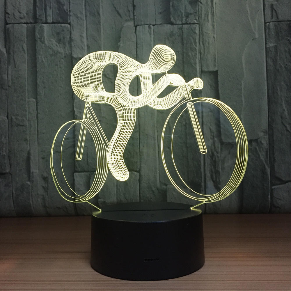Fangjuu Ride Bike 3D Night Light LED 7 Color Changing 3D Visual Lamp LED Table Lamp For Children Gift Toys