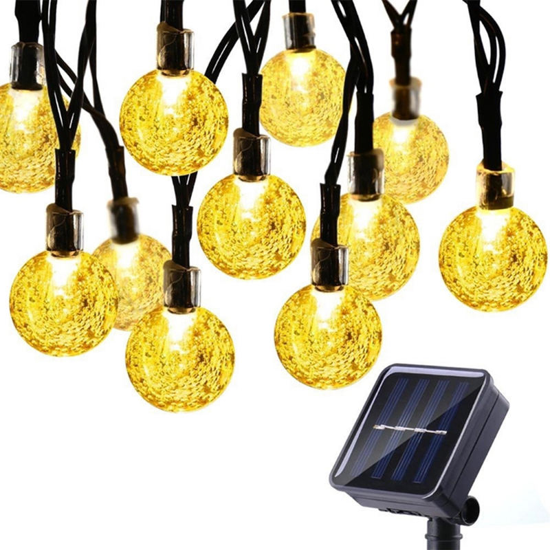 Outdoor Waterproof 20ft Crystal Ball Holiday Party Decoration 30 LED Solar String Lights