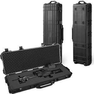 Waterproof shockproof hard IP67 plastic wheeled portable rifle long gun case