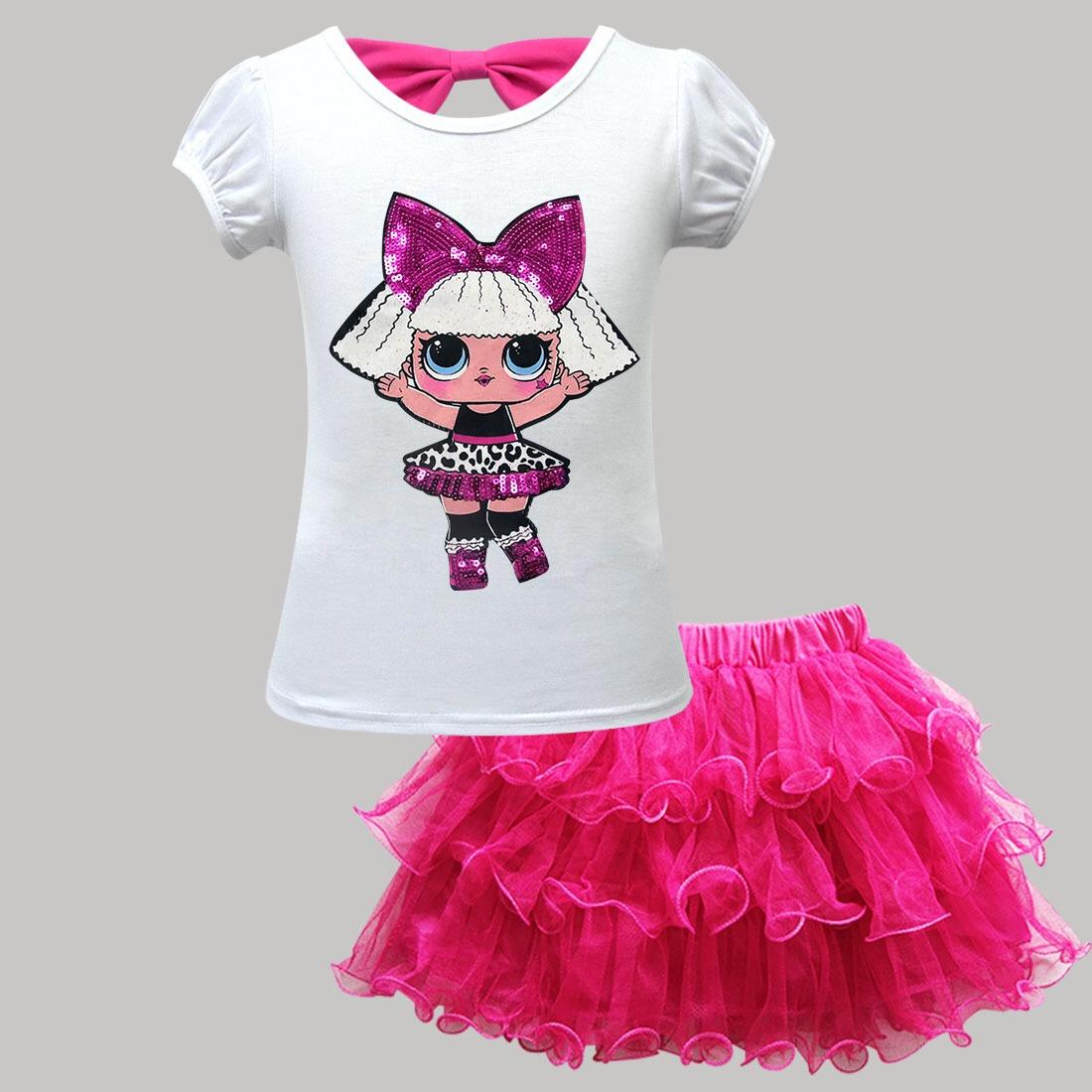 Cartoon sequined skirt boutique children child sets suit little girl clothing sets
