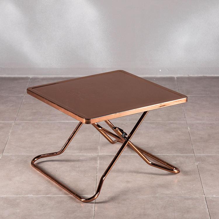 Altın Kare çay masası Tam <span class=keywords><strong>Vücut</strong></span> Sus yan masalar Gül Altın Katlanır Paslanmaz çelik ayak Sehpa