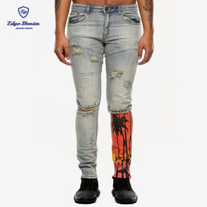 Skinny Jean Moto   Biker Style Destroy Wash Patchwork Men Pants Jeans