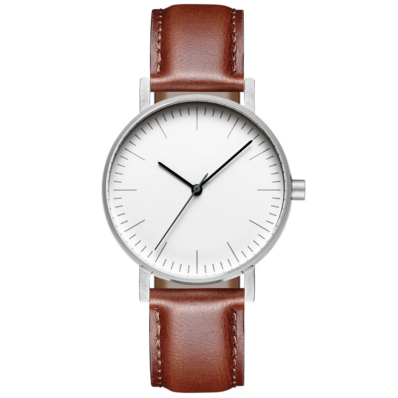 Unique Minimalist White Dial Leather Swiss Rhonda 763 Movement Unisex Watch