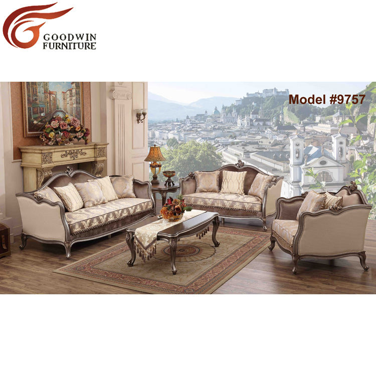 Custom Profesional American Style Oak Solid Wood Antique living room furniture fabric sofa set designs 9757
