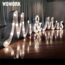 WOWORK factory double rim waterproof led wedding decorative 4ft mrs and mr marquee letters backdrop light