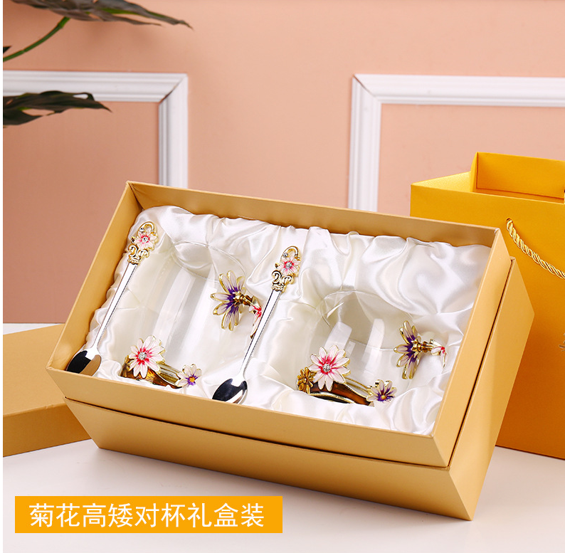 3d Reusable Crystal beautiful flower Coffee Water Enamel Glass tea coffee cup sets with lid