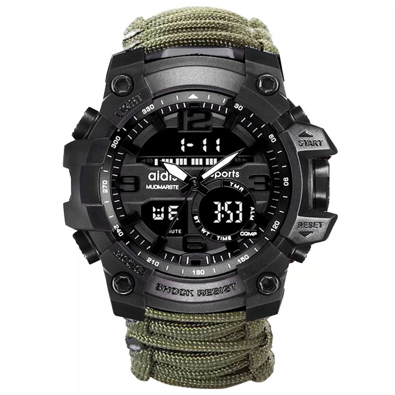 Addies Field Survival Rope Dual Time Shock Sport Watches For Men