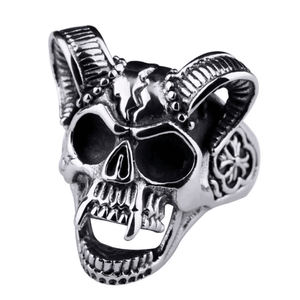 Men Ring Vintage Personality skull with goat Horn punk style male ring