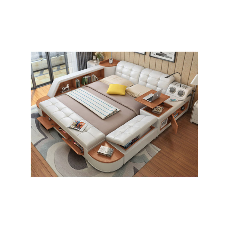 leather bed with massage function king multi function bed designs post modern real genuine leather bed