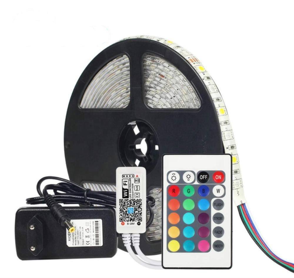 OUMUKALED DC12V 5050 LED Strip RGB RGBW RGBWW 60LEDs/m 5M with Mini WiFi Controller and 3A power supply LED Strip set