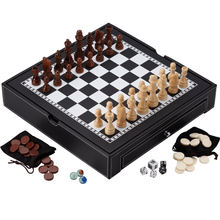 Best selling ajedrez luxury leather 3 in 1 wooden chess set backgammon chessboard for custom logo