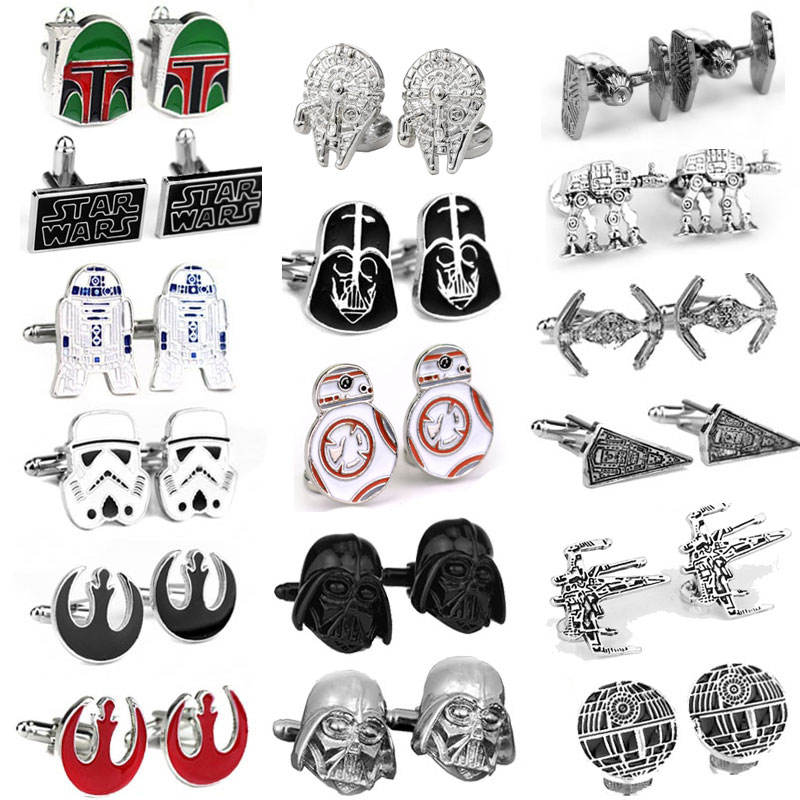 Hot Starwar Cuff Links Falcon Darth Vader BB8 R2D2 Fighter Knight cufflinks