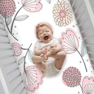 100% Cotton Fitted Crib Sheet, Floral, Pink/Gray