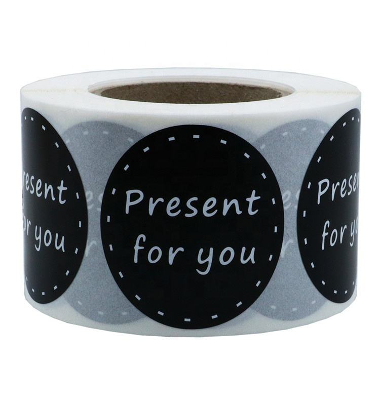 Hybsk 1.5 inch White Letter Present for You in Black with Dotted Line Stickers Total 500 Labels per Roll