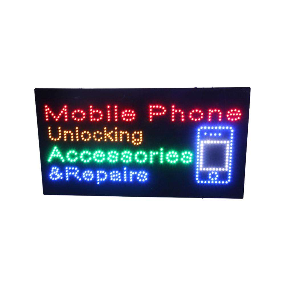 Hidly 17*31Inch Mobile Phone, Unlocking, Accessories, and Repairs LED Open Sign Advertising Business Animated Display Billboard