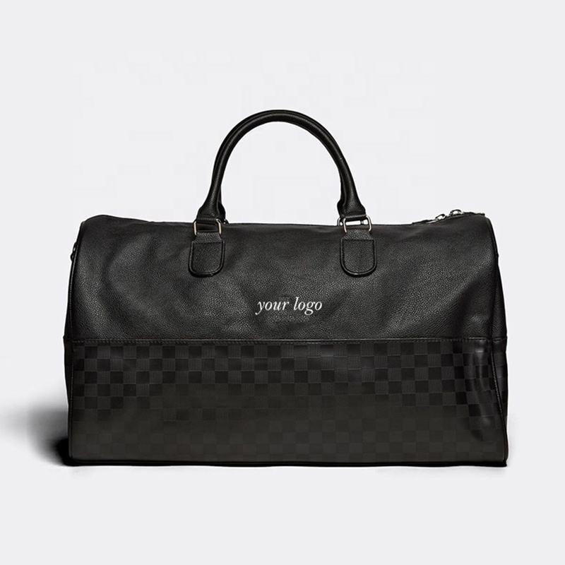 2019 New Design Black Custom Logo Women Travel Duffle Leather Bag For Men