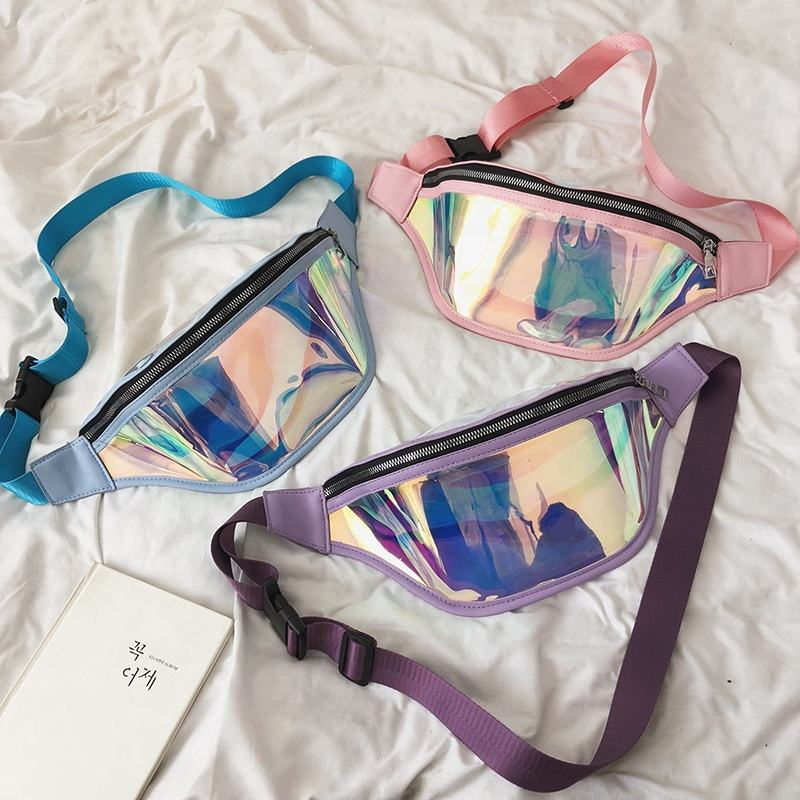 2019 Hot selling Holographic Laser Waist Bag Reflective Transparent PVC Fanny Pack