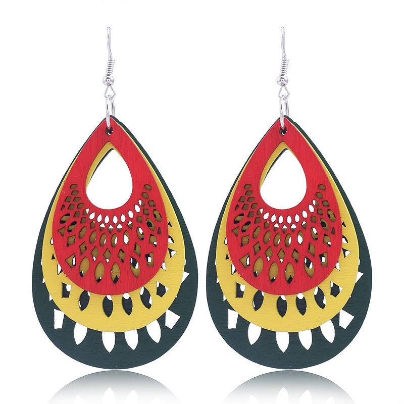 Chinese Carved Design Three Layered Teardrop Wood Pendant Drop Earrings Wholesale