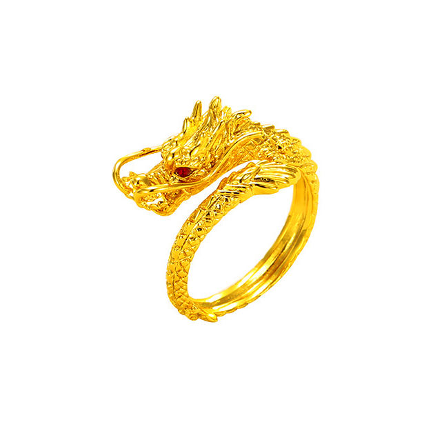 AR9032001 xuping cool alloy chinese dragon head ring, plated 24k golden dragon jewelry