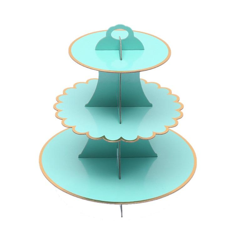 Gilding Paper Three Layers Dessert Table Disposable Cake Stands Fit Birthday Party