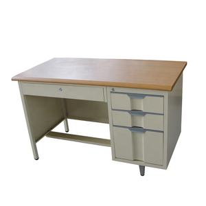 Metal Frame Wooden Surface Top Steel Office Computer Table School Storage Cabinet Desk