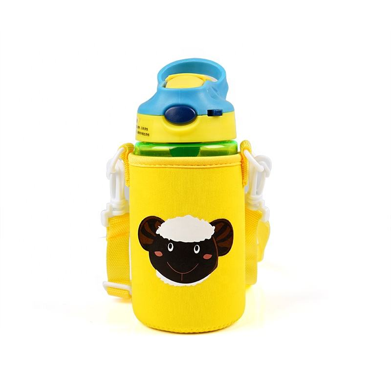Wholesale Cute Printed Insulated Water Milk Bottle Cover for Kids,Custom Neoprene Baby Bottle Cover Cooler Sleeve with Shoulder*