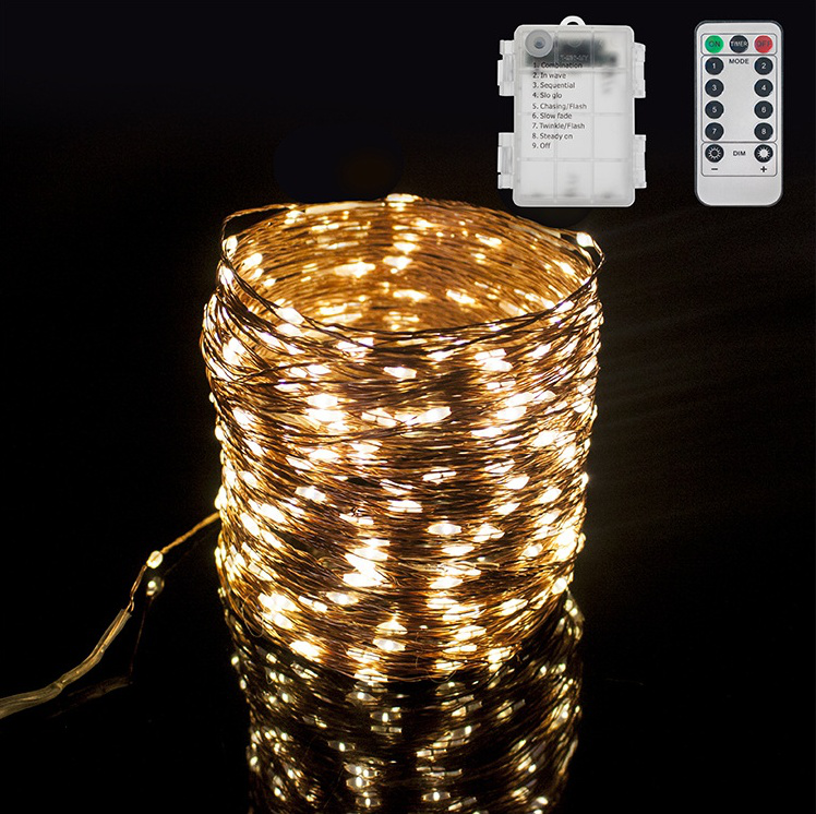 Remote control Solar electric battery powered copper wire string led decorative light