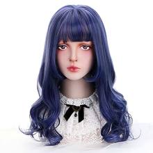 synthetic hair wigs Cosplay Lolita With Bangs Blue curly hair Japan Harajuku cosplay wig Wigs For Women Heat Resistant