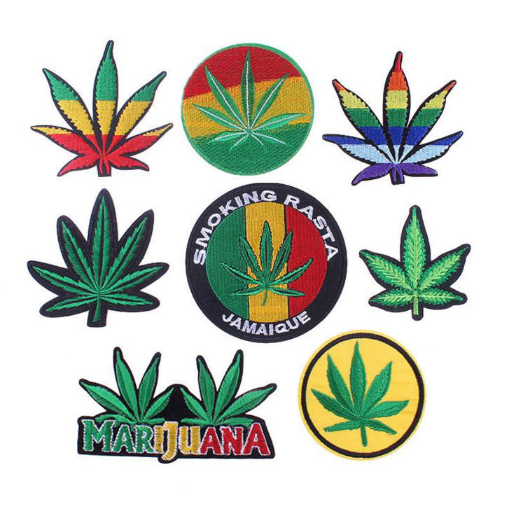 leaf weed embroidery patches sew iron on for clothing