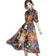 Wholesale In Stock Europe and America Women Fashion Half Sleeve Vintage Royal Pattern Print Bow Knot Neck Long Dress