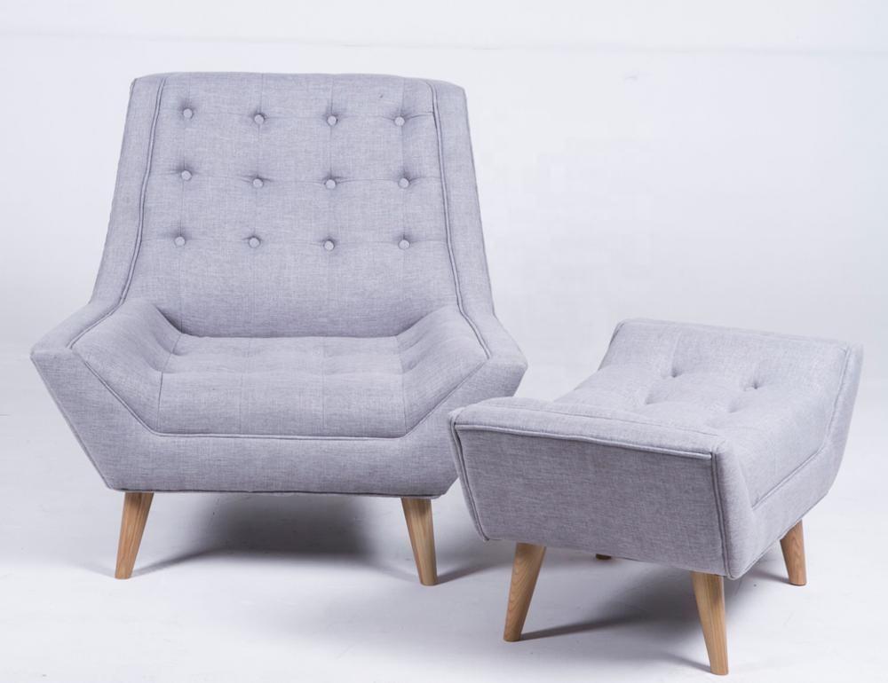 Amazon Hot Sales solide bois moderne tufted élégant fauteuil et ottoman avec jambe en bois