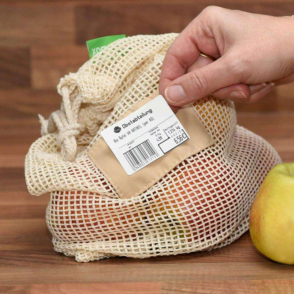 2021 Eco friendly Food Grade Reusable Grocery Cotton Mesh Bag with 100% Organic Cotton for Vegetable Fruit
