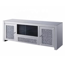 Hot sales Large Mirrored Glass Sparkly Crushed Diamond Silver Mirrored TV Cabinet Unit Stand