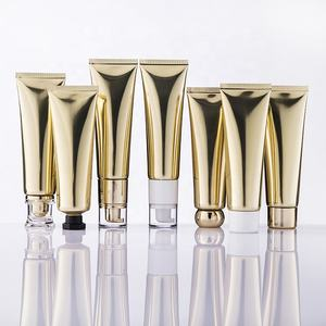Stock Short Leadtime Luxury 50ml Golden Laminated Aluminum Tube with Different Lids Pump