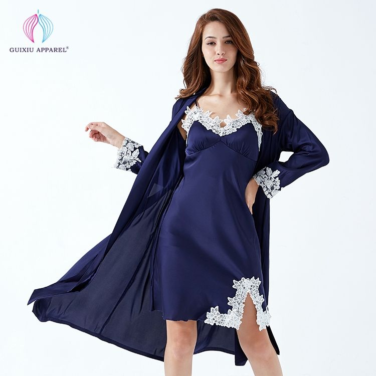 Lace sleeves trimmed womens dark blue silk satin robes