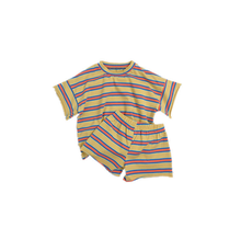 Kids 2019 Summer Wholesale Children's Casual Cute Striped Print T-shirt+Shorts 2 Piece Set For 1-5Y Boys Girls