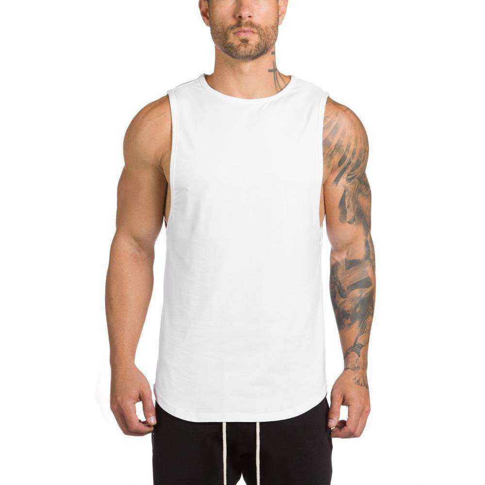 Muscle T Shirt 95%cotton 5%spandex Sport Sleeveless Mens Vest