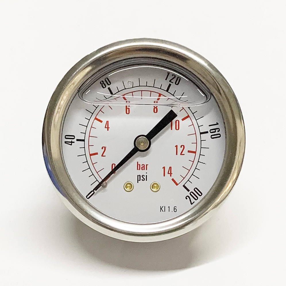 "2.5"" Y63 0-14bar/200psi 1/4NPT Gauge Double Scale Center Back Mount 63mm Oil Pressure Gauge Water Manometer"
