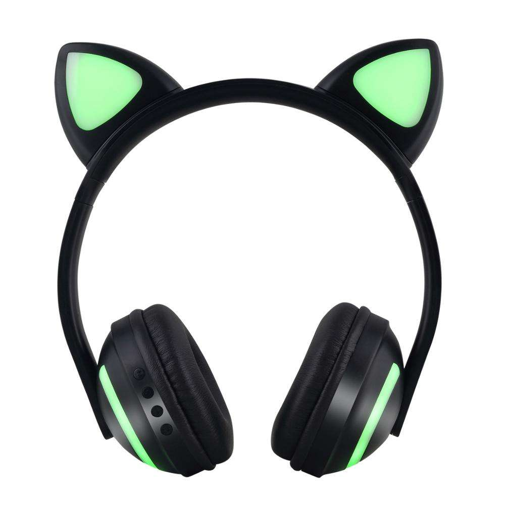 Kids Promotional gift 7 kinds colors led light changing cat ear wireless headphones