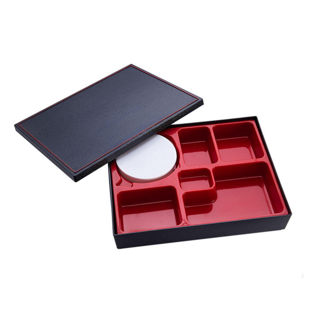 A962 6 Compartment Black Simulate Wooden Grain Plastic Bento Lunch Box With Lid