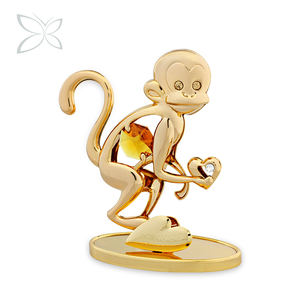 Crystocraft 12 Chinese Horoscope Zodiac 24 Gold Plated Monkey Figurine Sculpture with Crystals from Swarovski Feng Shui Crafts