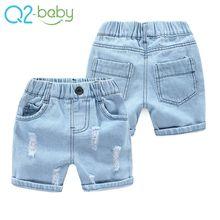 Boy hole jeans shorts summer new baby beach pants cotton new five kids jeans alkz248
